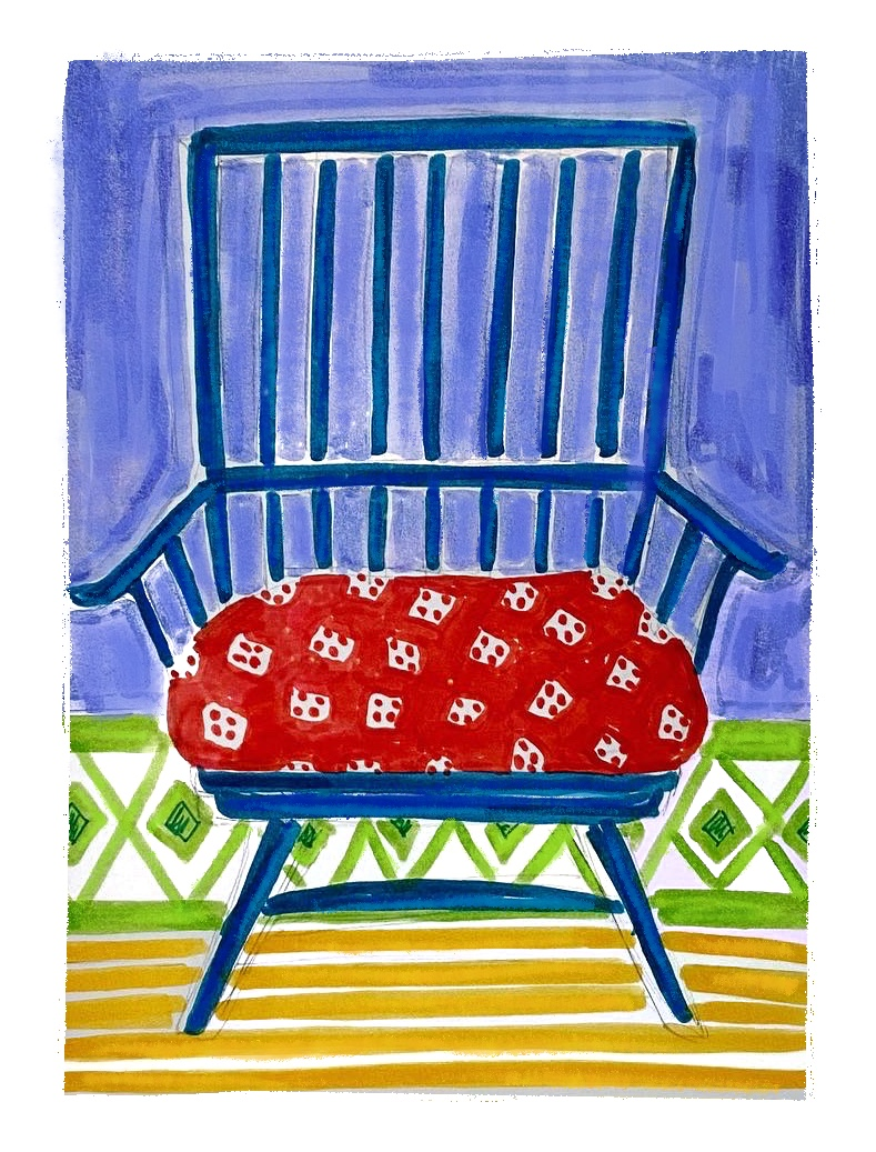 Blue Chair with Red Seat